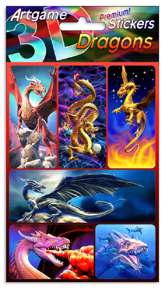 Dragons 3D Lenticular Stickers by Artgame - One Sheet of 6 Assorted Dragon Stickers