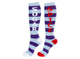 Sugar and Spice - Blue & Purple Striped Unisex Knee Socks - Off The Wall Toys and Gifts