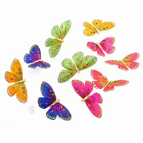 Glitter Hand Painted Spring Colors Butterfly Garland - Off The Wall Toys and Gifts