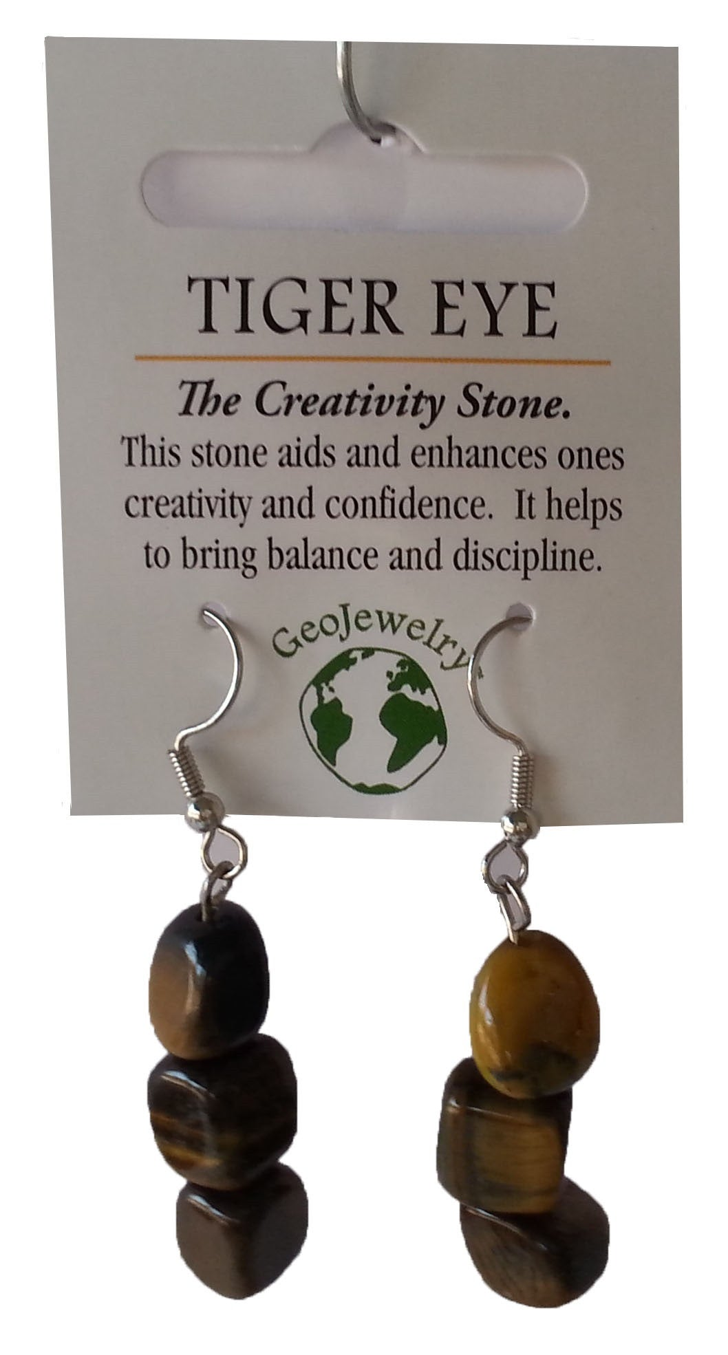 Natural Gemstone Tiger Eye Triple Nugget Earrings - Off The Wall Toys and Gifts