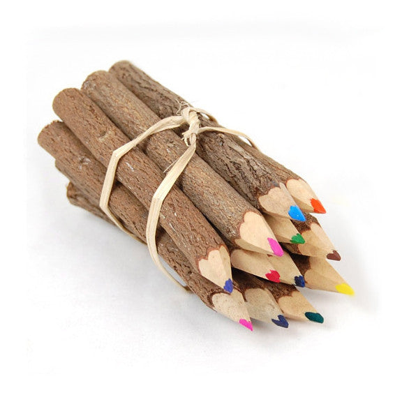 12 Colored Twig Pencils 7 Inch Twig-Uums Whimsical