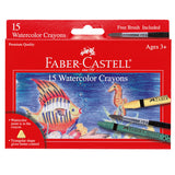 Kids Watercolor Crayons Set - Includes 15 Crayons and Paintbrush - Off The Wall Toys and Gifts