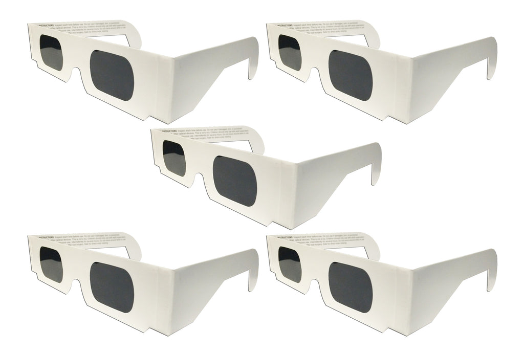 The Eclipser Safe Solar Eclipse Viewing Glasses CE Certified, w/White Frame - 5 Pack