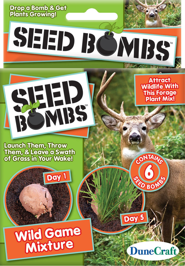 6 Seed Bombs - Wild Game Mixture - Attract Deer, Elk, Birds and More