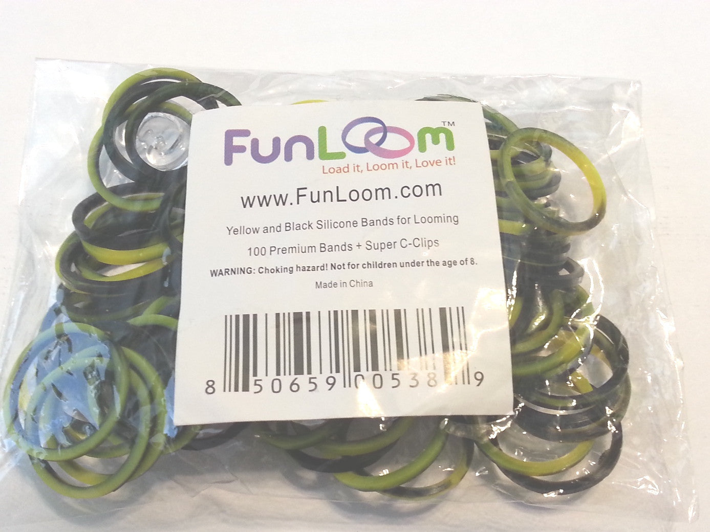 FunLoom Silicone Bands - Yellow And Black - Off The Wall Toys and Gifts