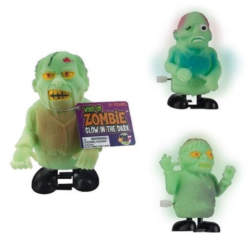 Set of 3 Wind Up Glowing Zombie Toys