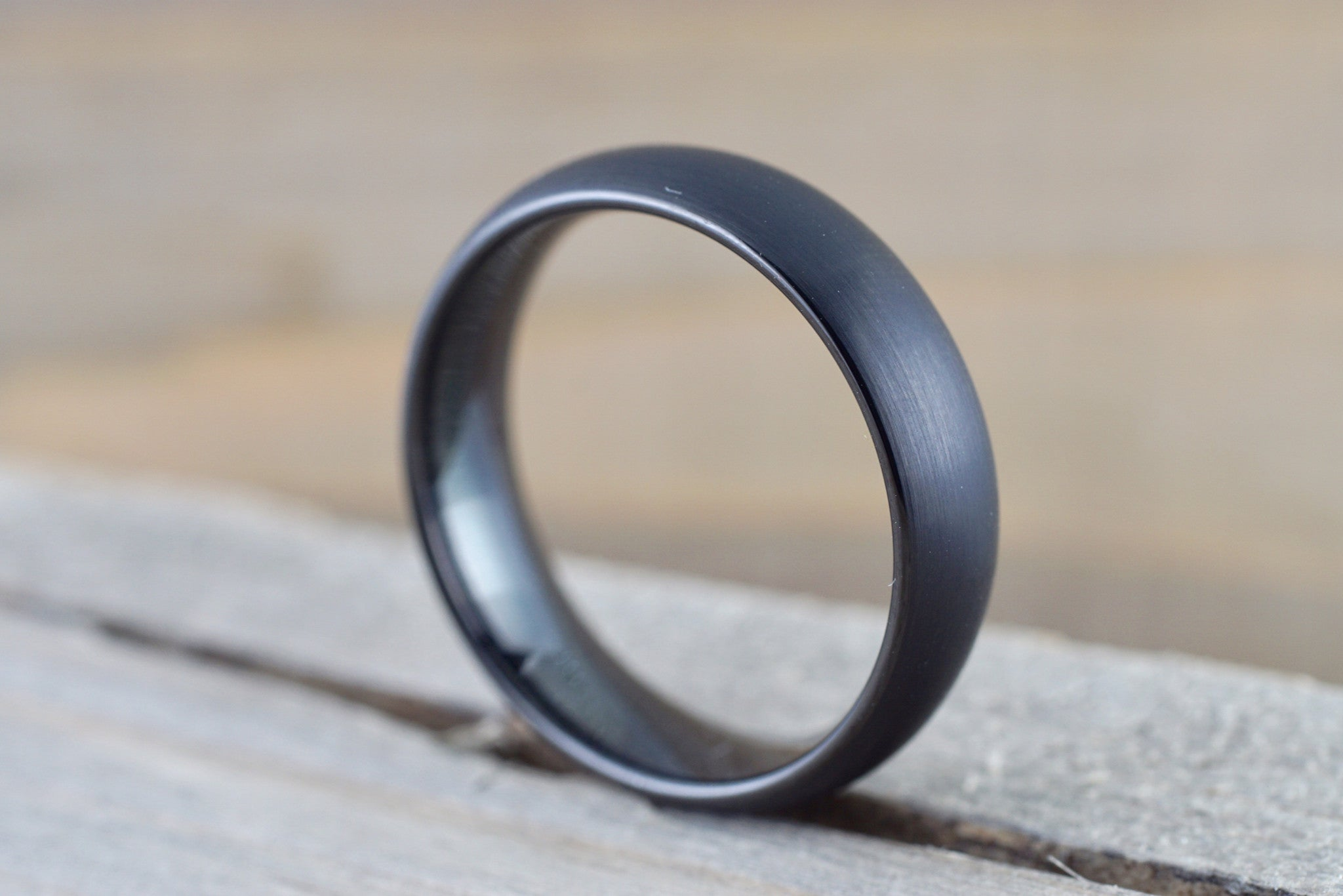 Tungsten Carbide 6mm Domed Brushed Matted Finish Men's Ring