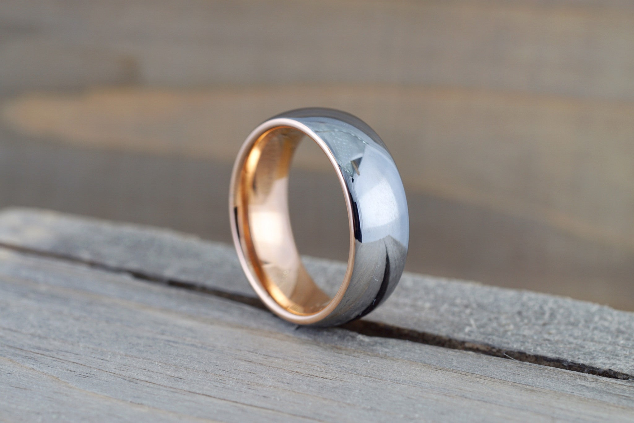 Tungsten Carbide 8mm Domed High Polish With Rose Gold Plated Finish Inside Men's Ring