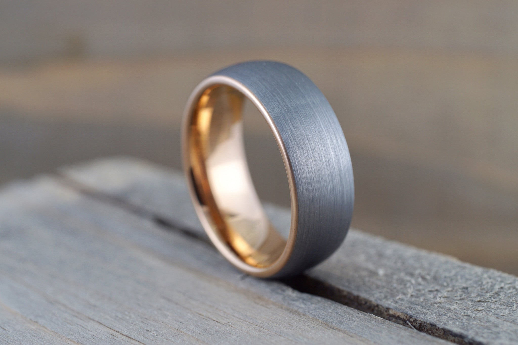 Tungsten Carbide 8mm Domed High Satin Brushed With Rose Gold Plated Finish Inside Men's Ring