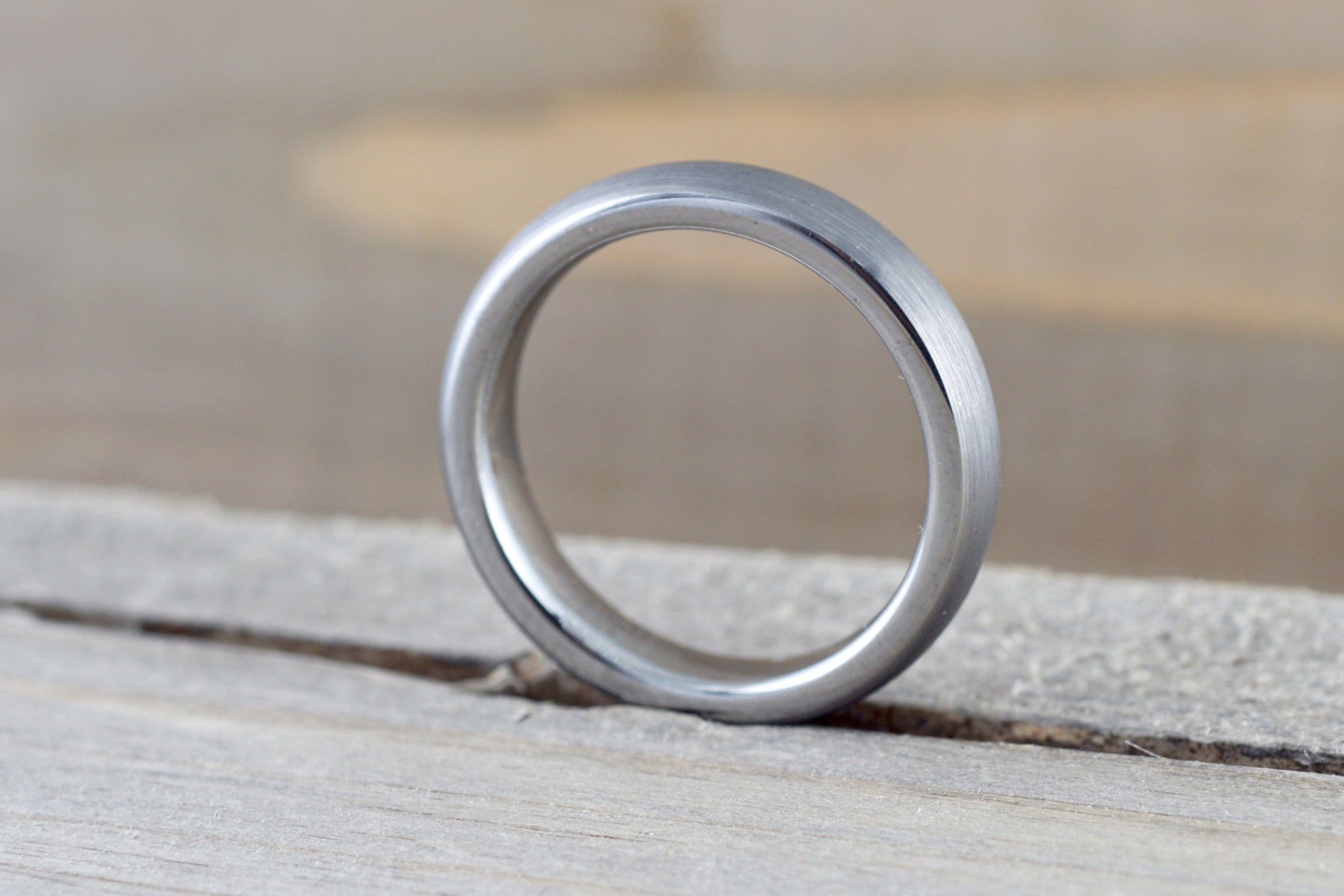 Tungsten Carbide 4mm Domed High Satin Brushed Finish Inside Men's Ring