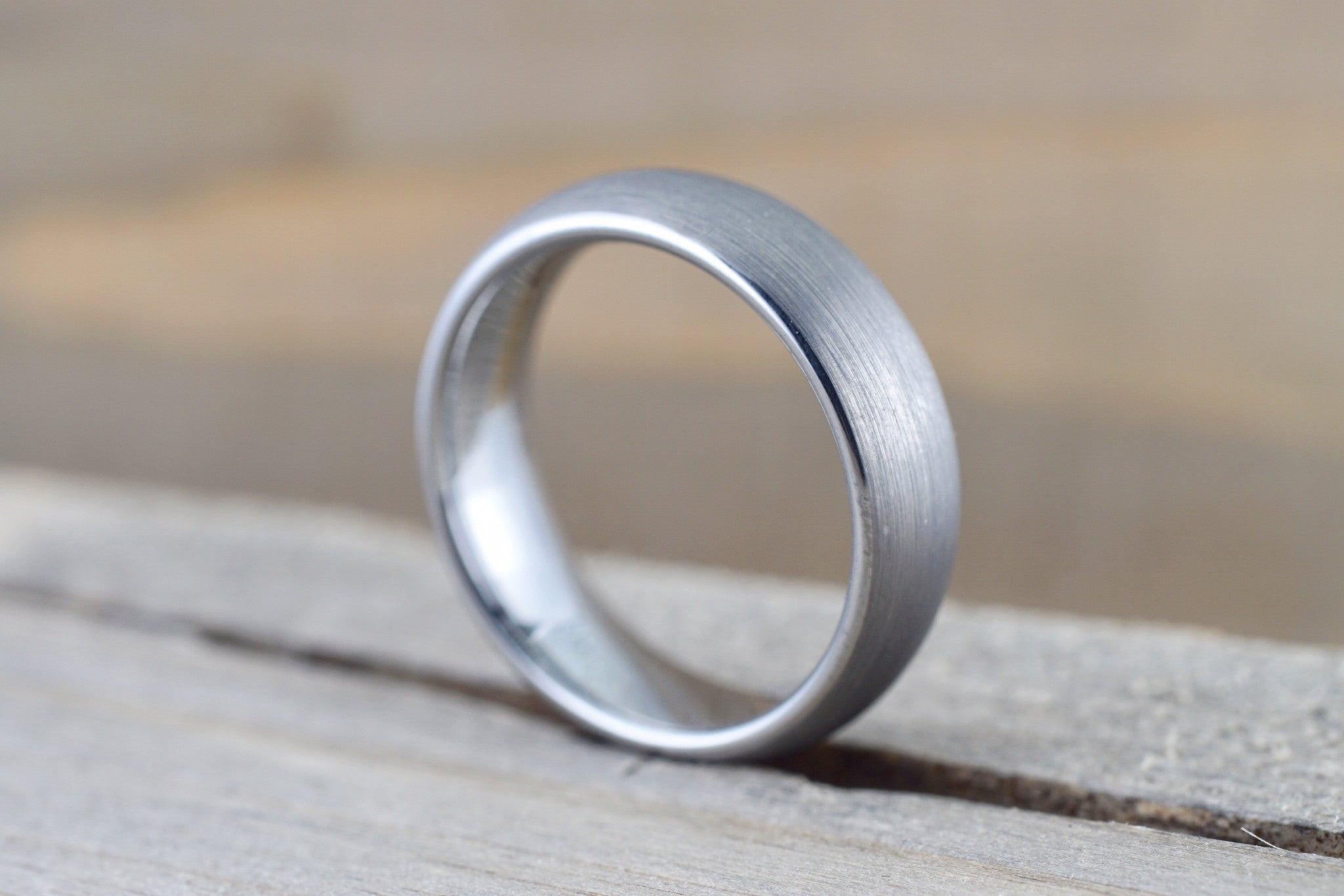 Tungsten Carbide 6mm Domed High Satin Brushed Finish Inside Men's Ring