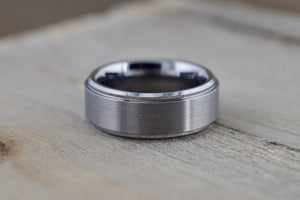 Tungsten Carbide 8mm Brushed Finish Flat Row With Stepped Edge Men's Ring