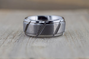 Tungsten Carbide 8.5mm Brushed Finish Flat Row With Stepped Edge Men's Ring