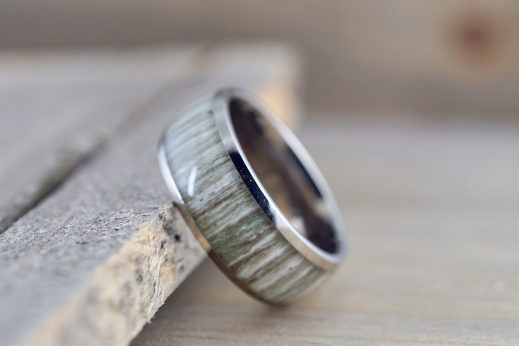 White Ash Wood Underlay in Titanium 8mm Domed High Men's Ring