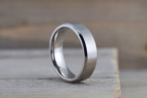 Titanium 8mm Matte Finish Beveled Edge Men's Ring