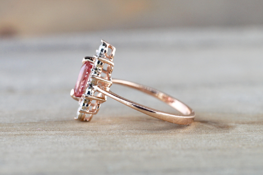 Oval Pink Peach Sapphire 14k Rose Gold Diamond Vintage Art Deco Halo Marquis Ring Heirloom