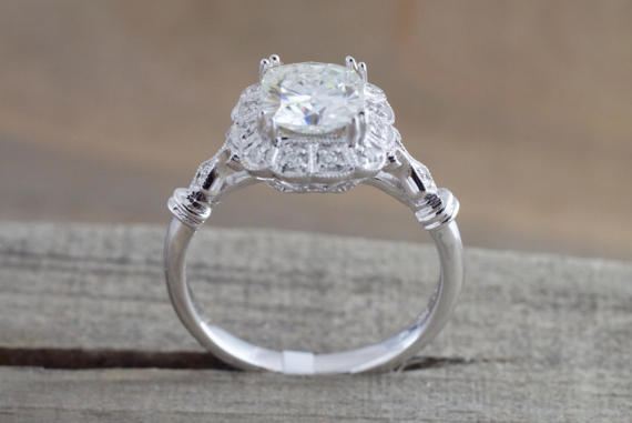 6.5mm Cushion Moissanite 18k White Gold Ring