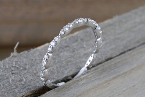 14k White Gold Dainty Thin Three Oval  Diamond Band Stackable Design Ring Curve 3/4 diamond around - Brilliant Facets