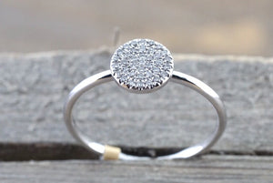 14k White Gold Diamond Pave Disk Stackable Ring Band Promise Anniversary Fashion Rope - Brilliant Facets