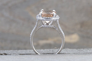 11x9mm Morganite 14k White Gold Oval Cut Pink Diamond Halo Engagement Ring Vintage - Brilliant Facets