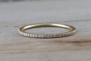 14kt Yellow Gold 1mm Diamond Ring Band Wedding Engagement Stack Dainty
