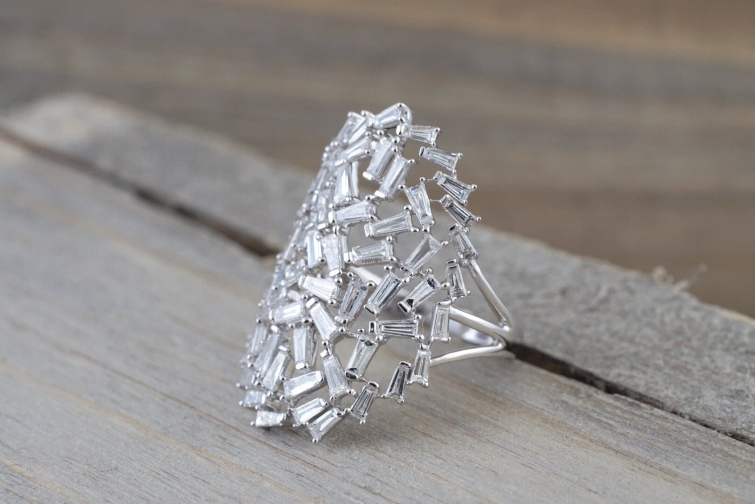 18kt White Gold Baguette Diamond Fancy Art Deco Design Pattern Ring Vintage Inspired