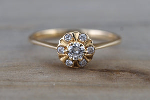 14K Yellow Gold Classic Diamond Engagement Wedding Promise Vintage Cute Ring