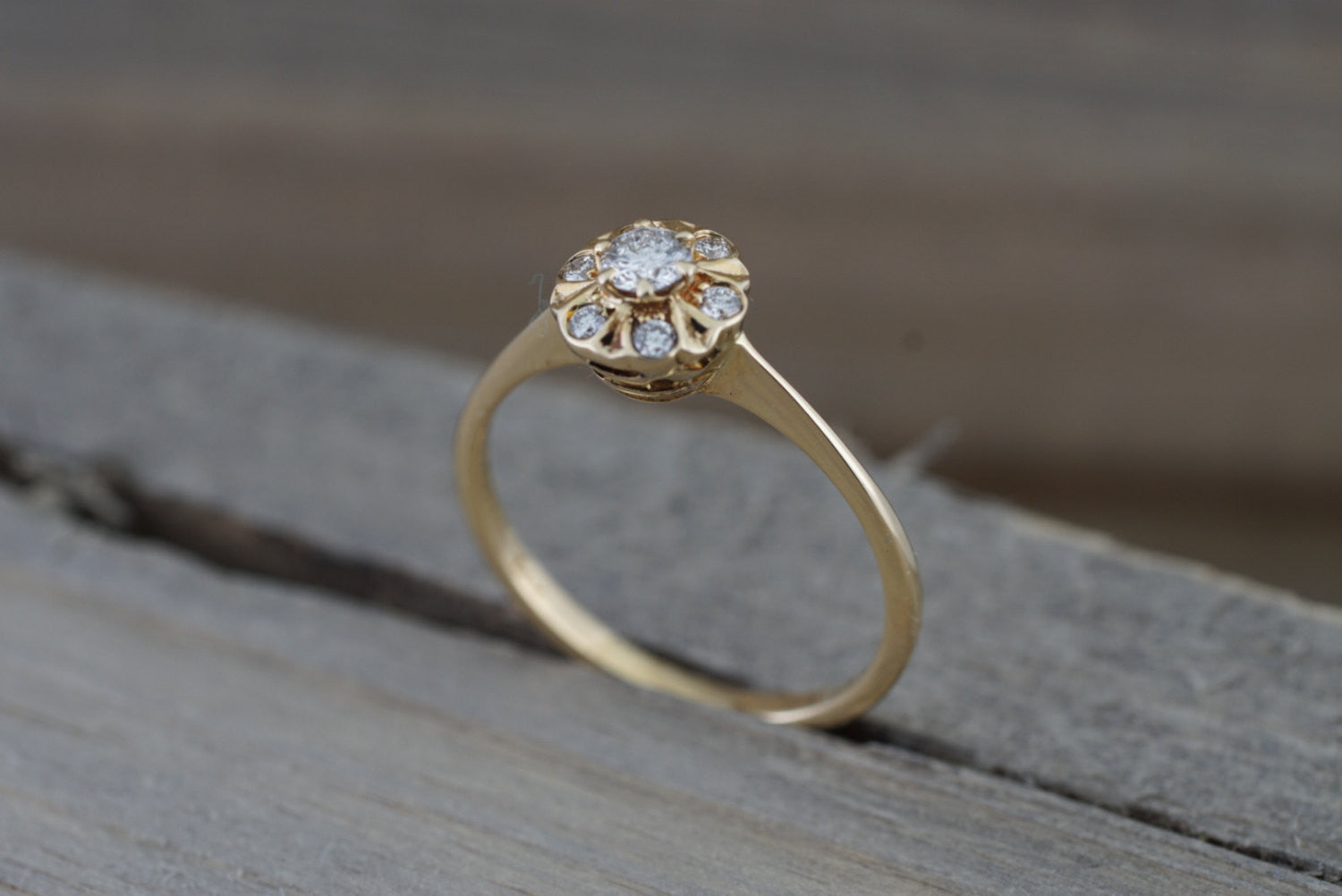 14K Yellow Gold Art Deco Diamond Engagement Wedding Promise Vintage Ring