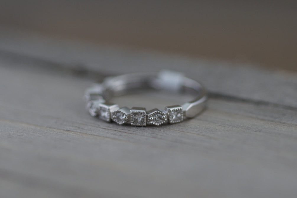14K White Gold Art Deco Diamond Wedding Milgrain Etching Vintage Classic Ring - Brilliant Facets