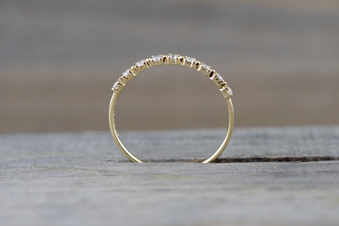 14kt Yellow Gold Diamond Ring Band Wedding Engagement Stack Dainty