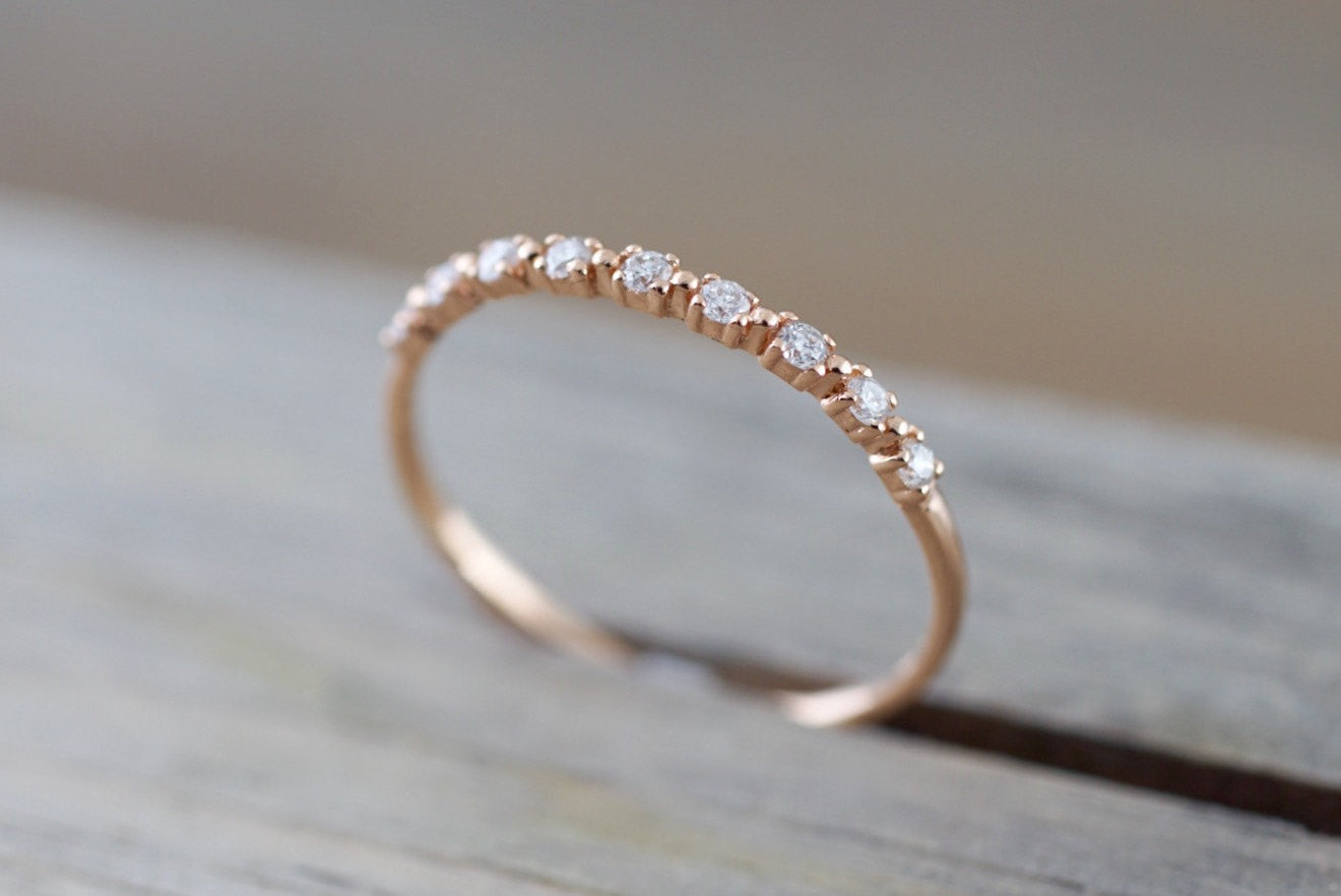 14kt Rose Gold Thin Diamond Ring Band Wedding Engagement Stack Dainty