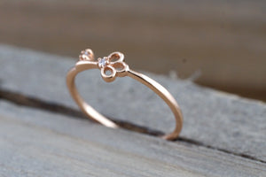 14k Solid Rose Gold Diamond Key To Your Heart Fashion Ring Band Love - Brilliant Facets