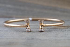 18k Rose Gold Bow Micro Pave Diamond Charm Bangle Dainty Love Gift Fashion Cuff Sharp Bangle