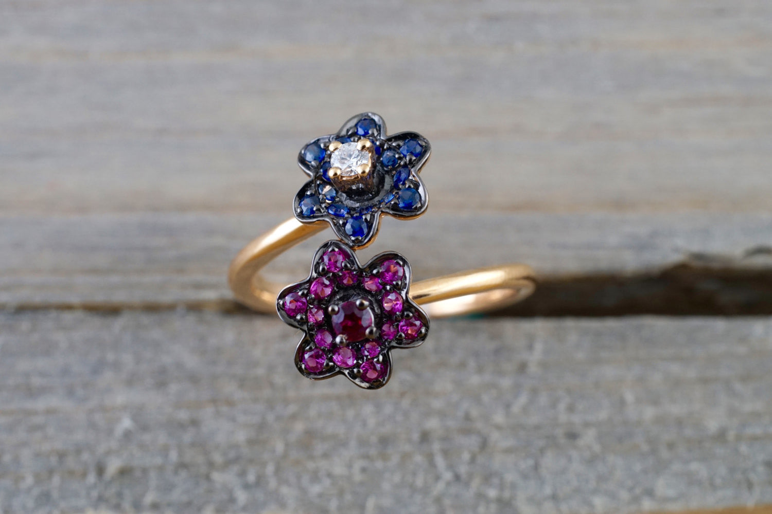 18K Rose Gold Art Deco Sapphire Diamond Floral Vintage Classic Ring Band Shaped