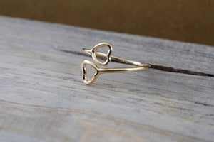 14k Yellow Gold Double Open Heart Adjustable Pinky Knuckle Ring Love