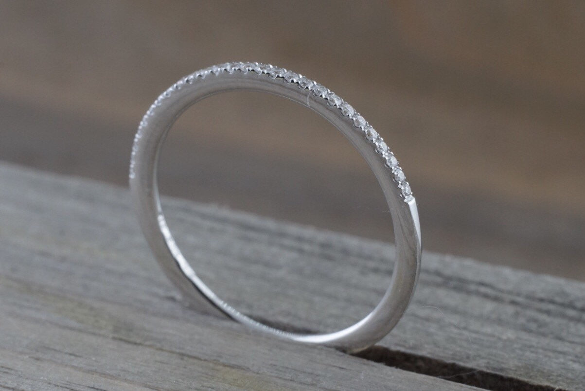 14k White Gold Dainty Diamond Half Eternity Band Wedding Anniversary Love Ring Band Thin - Brilliant Facets