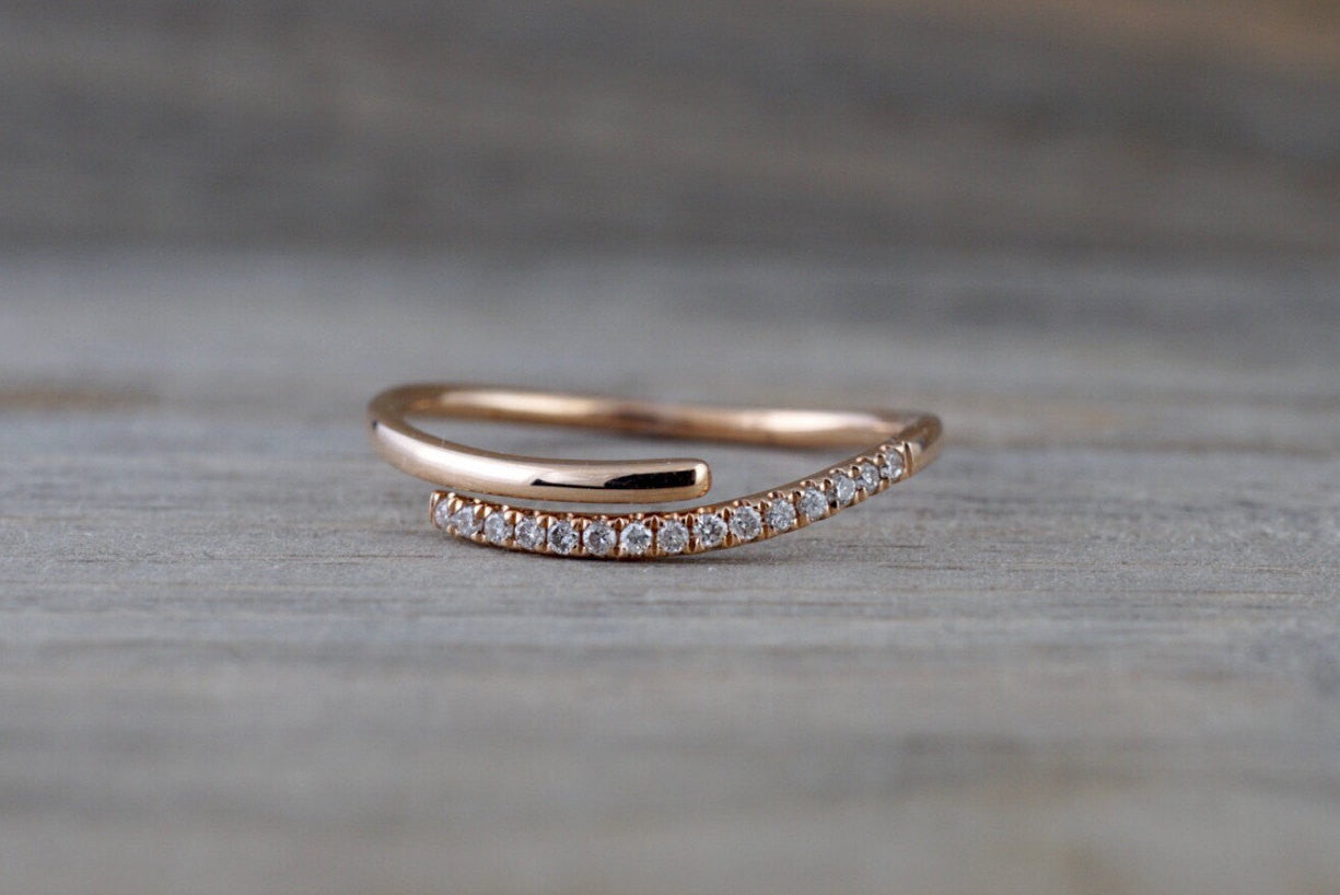 14k Rose Gold Diamond Pave Polished Stackable Ring Band Rope Twist - Brilliant Facets