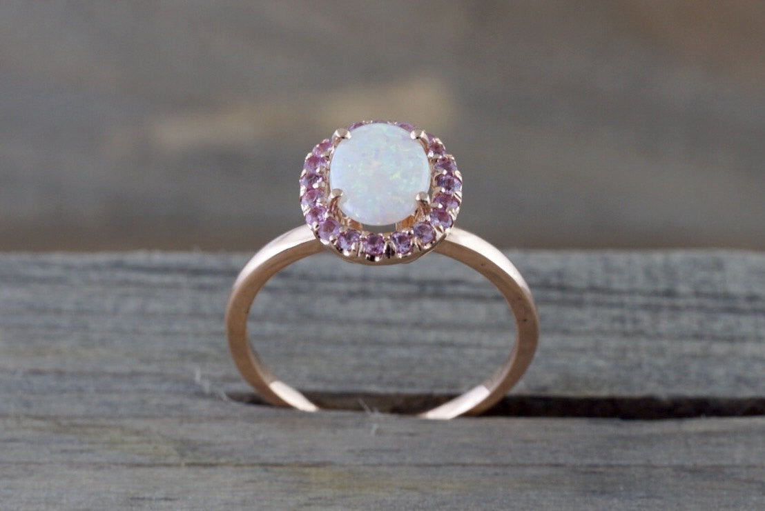 14k Rose Gold Oval Fire Opal And Pink Sapphire Halo Engagement Love Anniversary Ring - Brilliant Facets