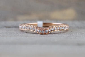 14kt Gold Diamond Milgrain Vintage 3 Face Curve V Groove Ring Engagement Band