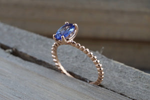14k Rose Gold Elongated Oval Cut Tanzanite Engagement Promise Ring Rope Bead Vintage - Brilliant Facets