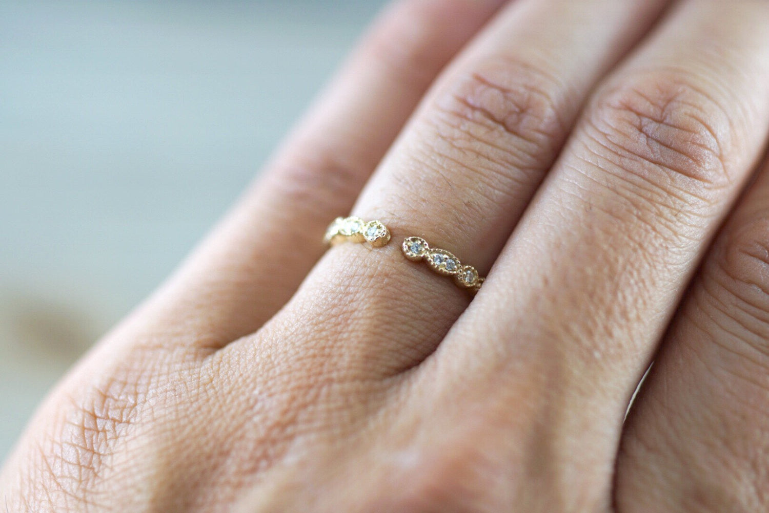 14k Yellow Gold Dainty Diamond Milgrain Band Wedding Anniversary Love Ring Band Vintage Thin Open
