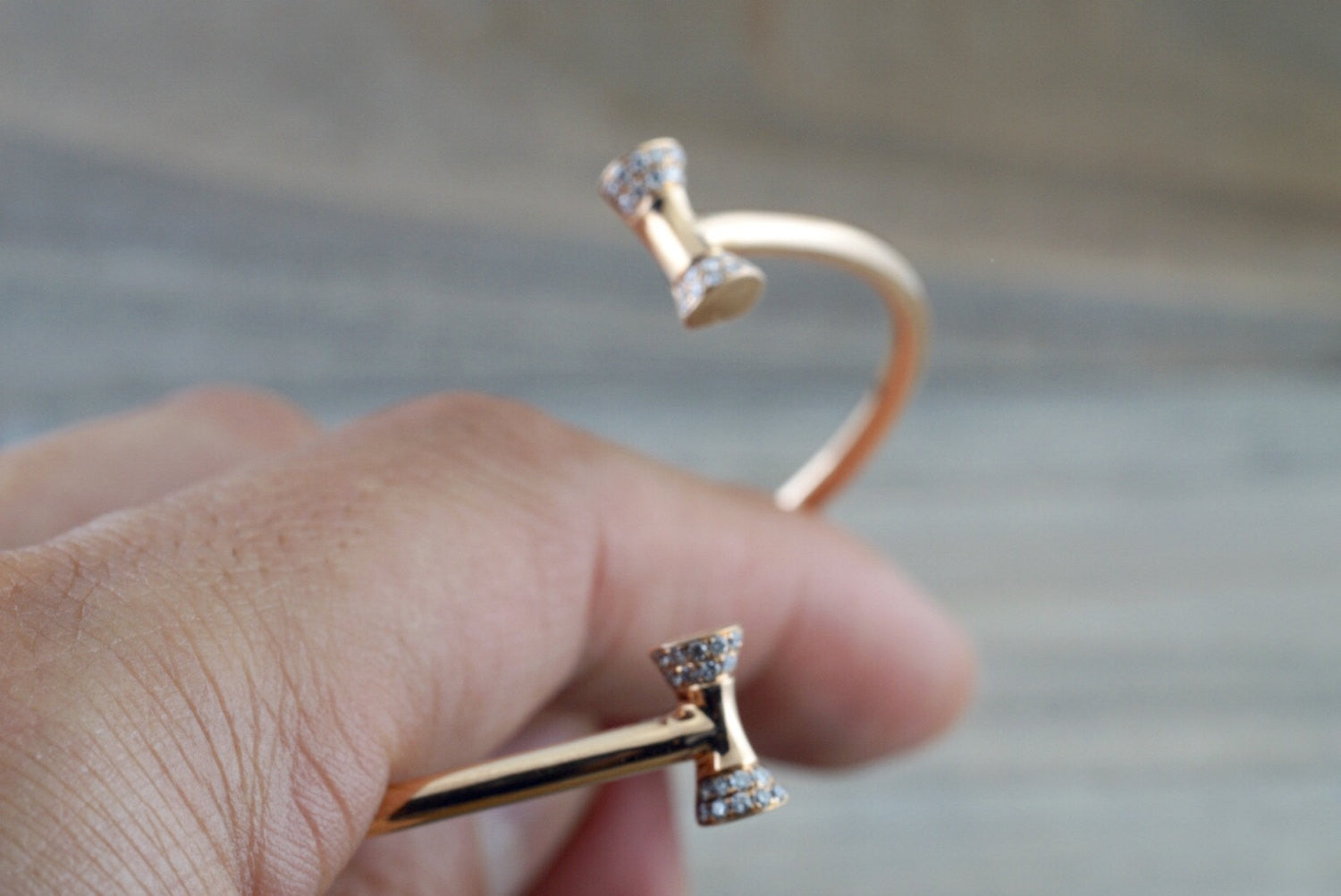 18k Rose Gold Open Cuff Bow Micro Pave Diamond Twistable Bangle Dainty Size