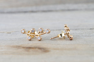 14k Yellow Gold Diamond Leaf Style Stud Earring Post Micro Milgrain Etching Curve