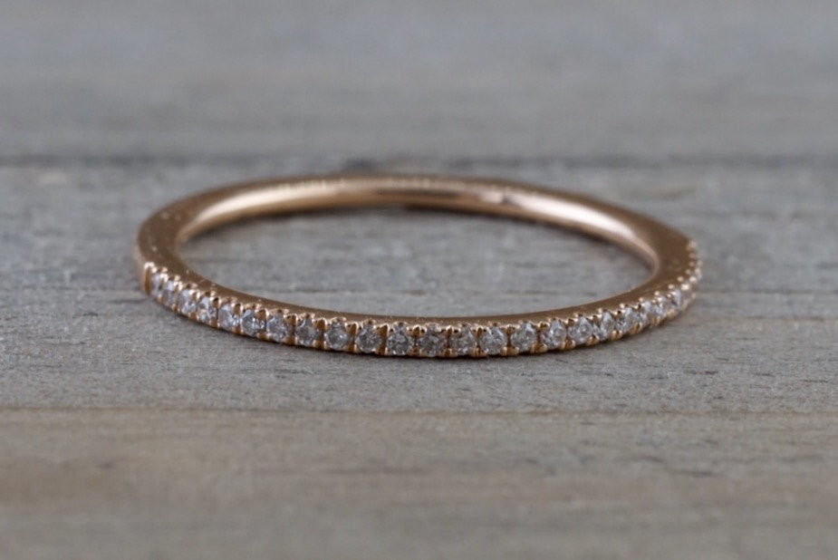 14kt Rose Gold 1mm Diamond Ring Band Wedding Engagement Stack Dainty