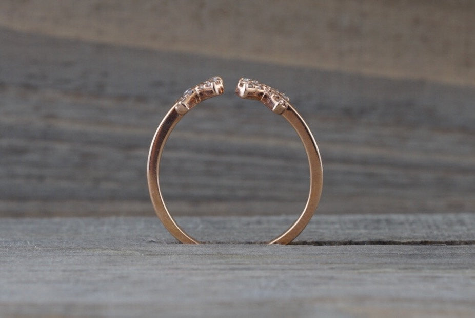 14k Solid Rose Gold Diamond Open Triangle Xoxo Fashion Ring Band Love Xs Kiss Kisses - Brilliant Facets