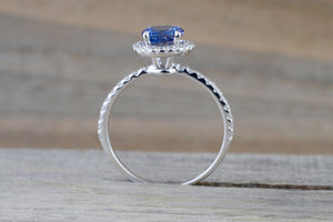 18k White Gold Round Cut Tanzanite Diamond Halo Wedding Engagement Promise Ring Anniversary