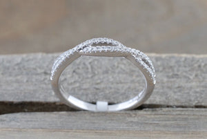 14k White Gold Infinity Twist Cross Eternity Crossover Diamond Engagement Ring RR010002