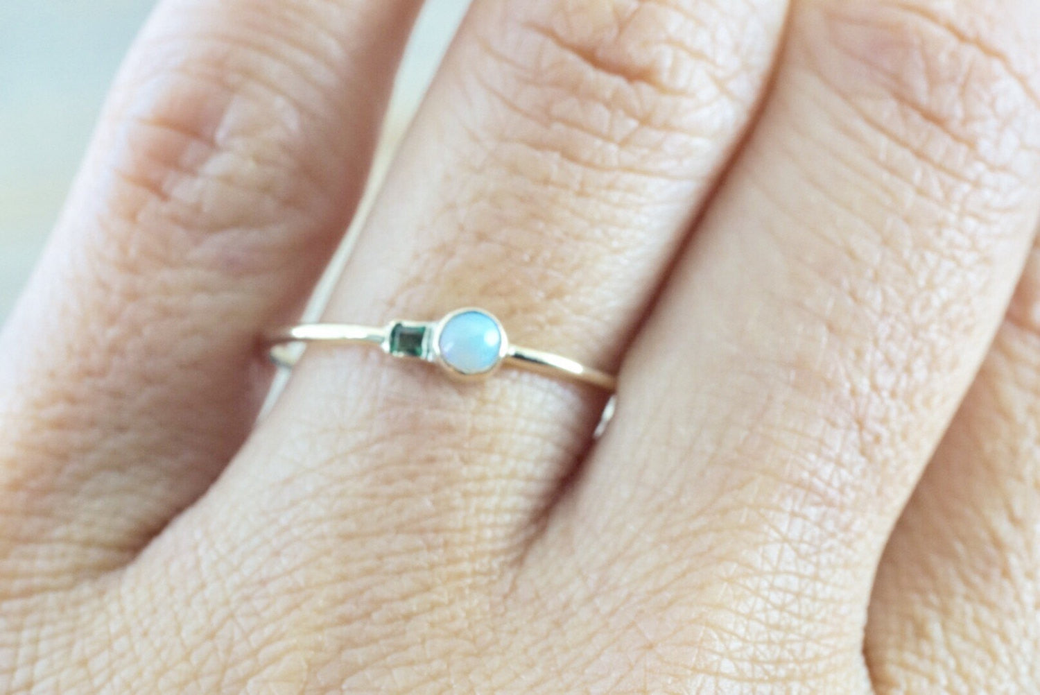 14k Yellow Gold Fire Opal Emerald Ring Dainty Band Bezel Mothers Birthstone Gemstone