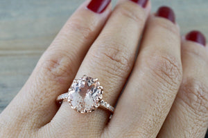 14k Rose Gold Oval Morganite Engagement Promise Wedding Anniversary Ring - Brilliant Facets