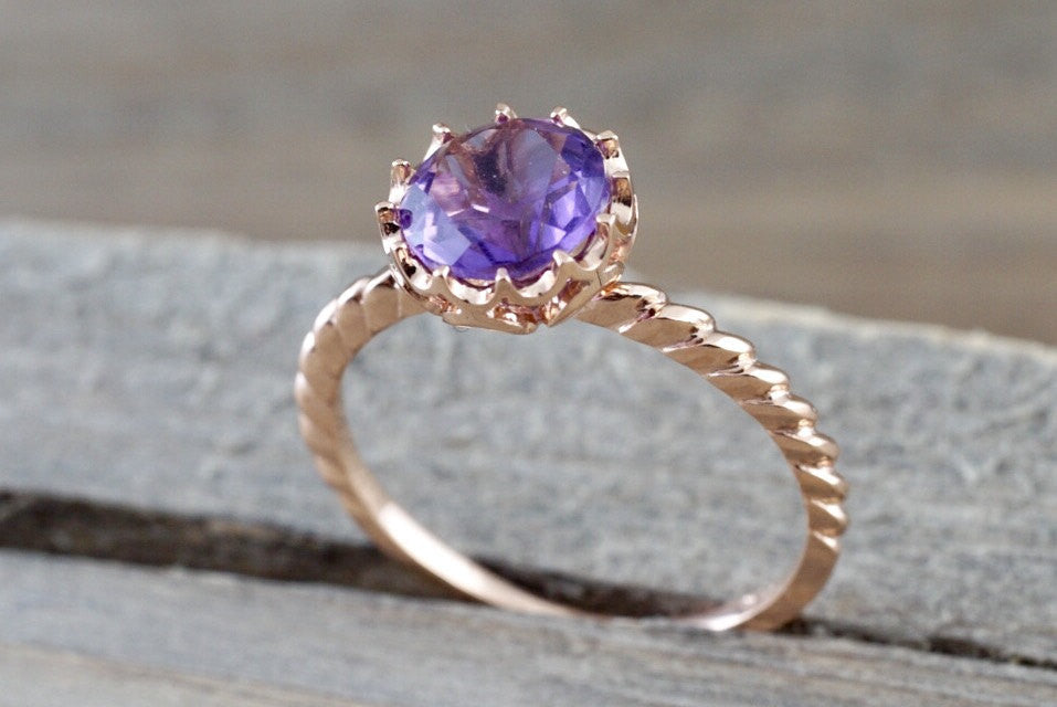 Mandi Amethyst 14k Rose Gold 7mm Round Purple Engagement Ring February Birthstone